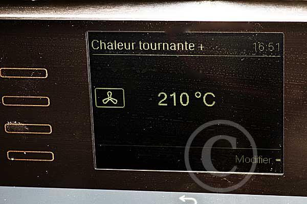 cuisson chaleur tournante 210 °C
