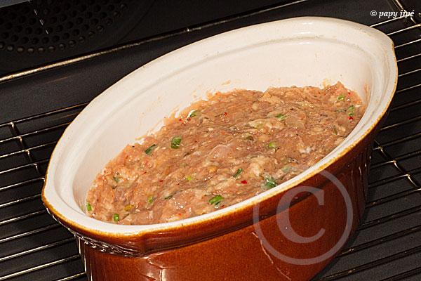 le rerte de farce est cuit en terrine.